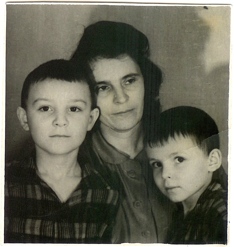 With Mother and Brother Yuri c1956.jpg