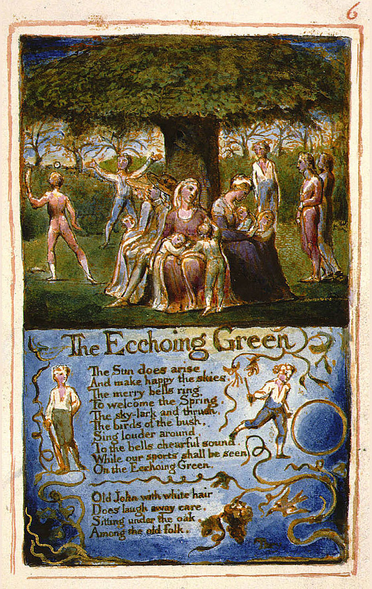 an analysis of the poem the echoing green from songs of innocence by william blake In our youth time were seen, on the echoing green till the little ones weary no more can be merry the sun does descend, and our sports have an end: round the laps of their mothers many sisters and brothers, like birds in their nest.
